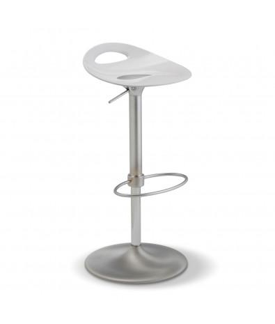 Tabouret de bar, pied chromé mat, assise blanche